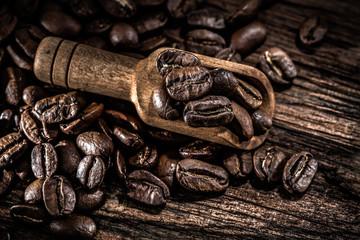 Fresh coffee beans in scoop on wooden board