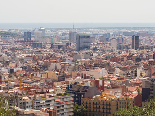 Panorama of the city of Barcelona from the top.