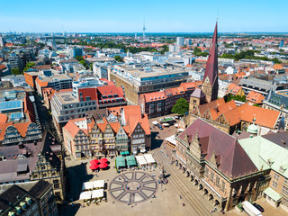Bremen old town aerial view