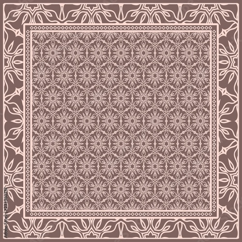 Template Print for Fabric  Pattern of floral geometric