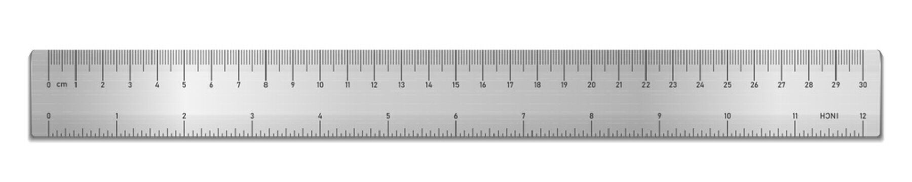 Realistic metal tape ruler isolated on white. Double sided measurement in cm and inches. Vector illustration