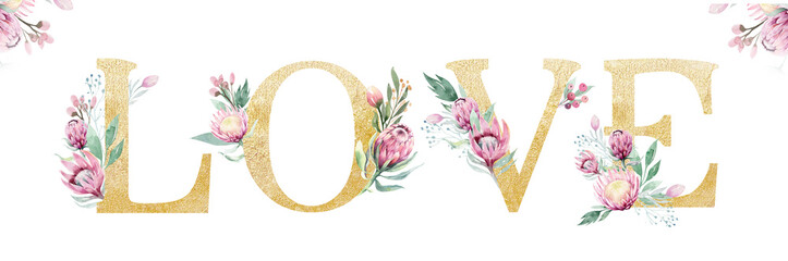 Gold glitter letter alphabet love. Isolated Golden alphabetic fonts and numbers on white background. Floral wedding font text illustration