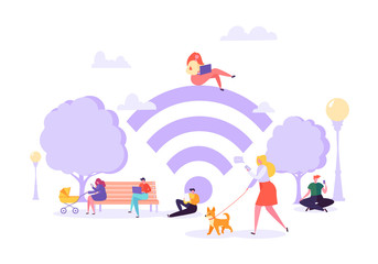 Wi-fi in the Park with People Using Smartphone and Laptop. Social Networking Concept with Characters with Mobile Gadgets. Vector illustration