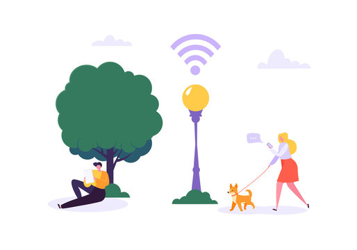 Wifi in the Park with Walking People Using Smartphone and Tablet