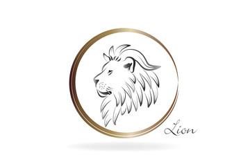 Logo stylized lion vector