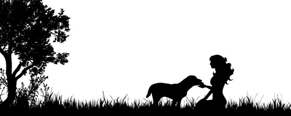Vector silhouette of woman with dog on the meadow.