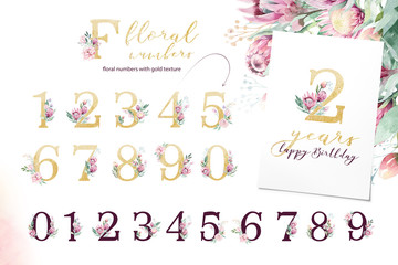 Gold glitter letter alphabet. Isolated Golden alphabetic fonts and numbers on white background. Floral wedding font text illustration