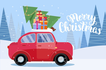Horizontal Festive postcard with lettering - retro car with presents, christmas tree on roof. Little red car carrying gift boxes.Vehicle side view.Winter snowy forest. Flat vector cartoon illustration