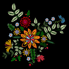 Embroidery neckline floral pattern with bright flowers. Vector embroidered patch for print and fabric design.