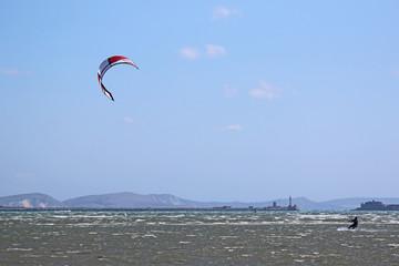 Kitesurfer at Portland Harbour