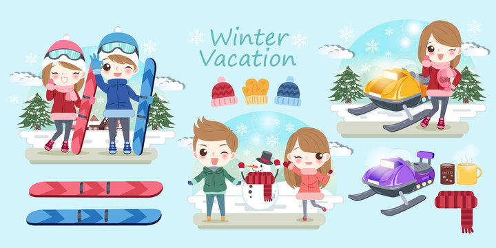 cartoon people travel in winter
