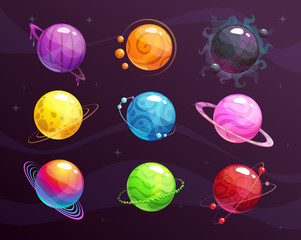 Cartoon colorful fantasy planets set on space background.