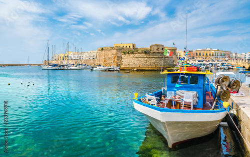 Wall mural View of Gallipoli old town and harbour, Puglia Region, South Italy