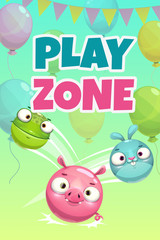 Kids zone banner concept, play zone vector illustration.