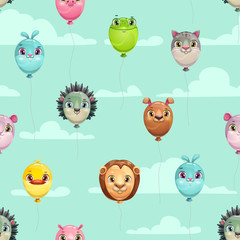 Seamless pattern with funny animal balloons on the sky background.