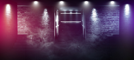 Background of an empty room with brick walls and concrete floor. Empty room, stairs up, elevator, smoke, smog, neon lights, lanterns