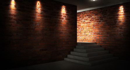 A narrow empty corridor, an old brick wall, smoke, neon lights and lamps. Night view. Background of an empty show scene. 3D rendering
