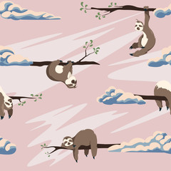 Cute sloths vector seamless pattern . Texture with cartoon animals and clouds on a pink background