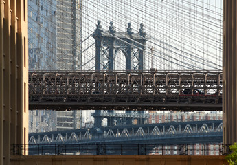Brooklyn Bridge and Manhattan Bridge in New York City, USA