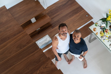 Gay Couple at Home Top View