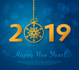 Happy New Year 2019 design with golden christmas ball with snowflake