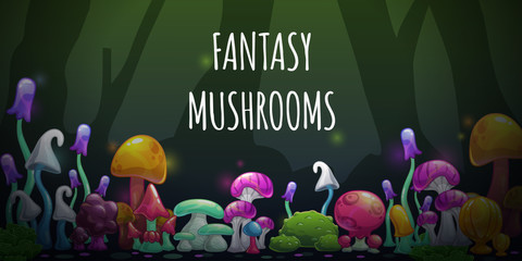 Horizontal banner with cartoon colorful fantasy mushrooms.