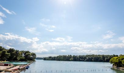 Alimini lakes on the seacoast of Otranto Salento Italy