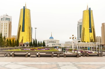 ASTANA, KAZAKHSTAN. October 11, 2018. Altyn Orda business center in Astana with Ak orda presidential residence in the background.