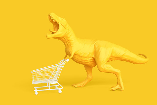 Dino with shopping cart. Retail concept. 3D illustration. Contains clipping path