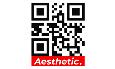 QR code for smartphones aesthetic t shirt illustration. Typography slogan vector for t shirt printing, Graphic tee and Printed tee. Box Logo