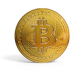 Gold bitcoin mockup 3D illustration on white BG