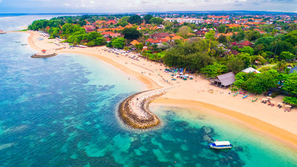 Aerial view of Sanur beach, Bali, Indonesia.
