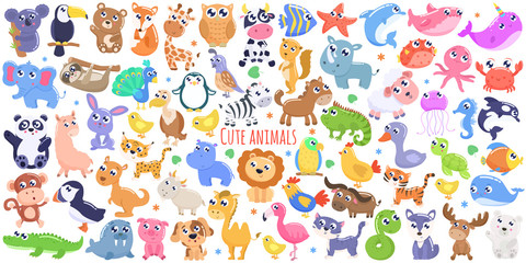 Cute cartoon animals set. flat design