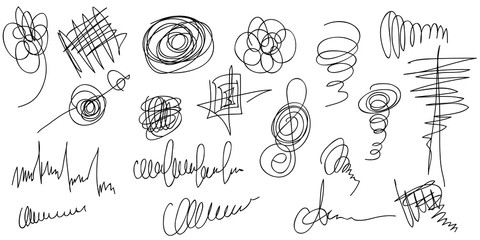 Big set of hand drawn scribble shapes.  Collection of abstract objects in duddles style. Continuous line.Vector.Isolated on white background.