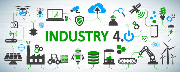 Industry 4.0 infographic factory of the future – for stock vector