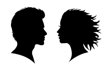 Man and woman silhouette. Face to face – for stock