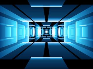 Fractal perspective vector background - abstract futuristic dark corridor interior design