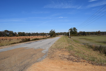 Rural road in Lafayette County, Mississippi