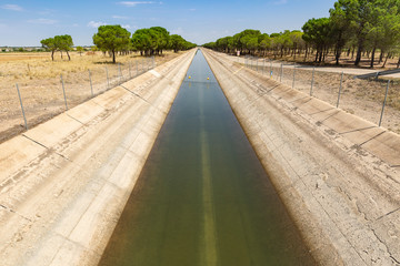 Tajo-Segura irrigation watercourse canal next to La Roda city, province of Albacete, Castilla La Mancha, Spain