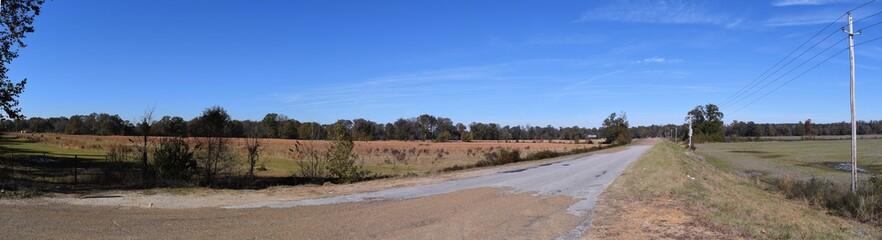 Rural road through farmland in Lafayette County Mississippi