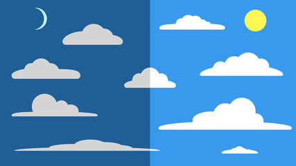 Icon set - white clouds against a blue sky.