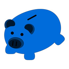 Blue pig piggy bank