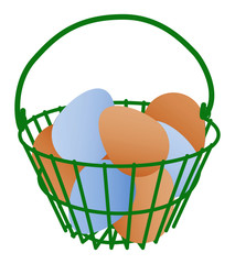 Basket of blue and brown eggs