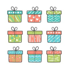 Set of hand drawn gift boxes. Vector illustration.