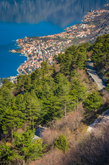 Road through the landscape of the Bay of Kotor