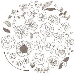 様々な花のイラストのセット(セピア)