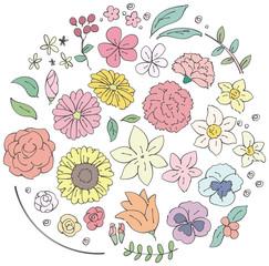 様々な花のイラストのセット(シンプルカラー)
