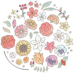 様々な花のイラストのセット(水彩風)