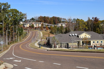 Apartments and complete street of Oxford Way in Oxford Mississippi