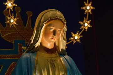 Casorate Primo, Italy. 2017/12/8. Notre Dame de Lourdes (Our Lady of Lourdes) - a statue of Virgin Mary in the church of San Vittore Martire.